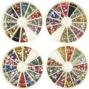 6000 7 DESIGNS 9 Sizes False Nail Art RHINESTONES wheel