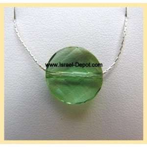 Twist Green Peridot Crystal 925 Silver Chain Necklace