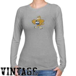 Oral Roberts Golden Eagles Ladies Ash Distressed Logo Vintage Long