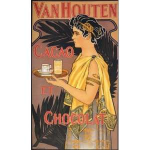 CHOCOLAT CHOCOLATE WOMAN CACAO VAN HOUTEN FRENCH 22 X 36