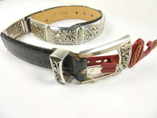 Brighton~Black Leather & Silver Link Belt S (28)~Nwt