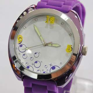New Stylish Purple Womens Mens Lovely Gift Nice Quartz Analog Wrist