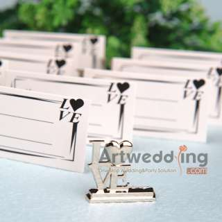 New Silver LOVE Wedding Place Card Holders Favors