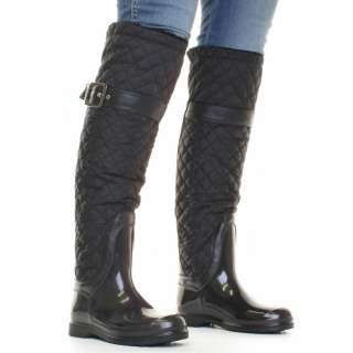 WOMENS BLACK QUILTED FLEECE LINED WELLIES WELLINGTON SNOW RAIN BOOTS