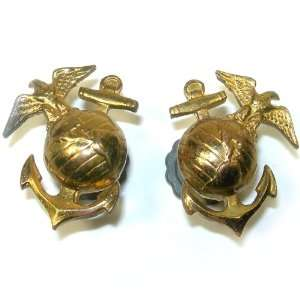 World War II U. S. USMC Marine Corps Collar Insignia Screwback Pin Set