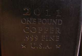 Pound .999 PURE COPPER BULLION BARS BUY and SELL
