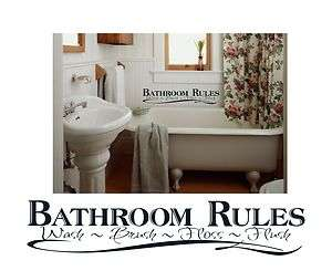 Bathroom Rules lettering decal saying quotes room wall vinyl sticker