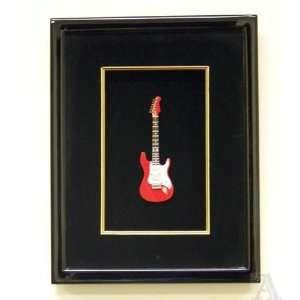 Guitar Black Wood Frame Wall Art Decoration