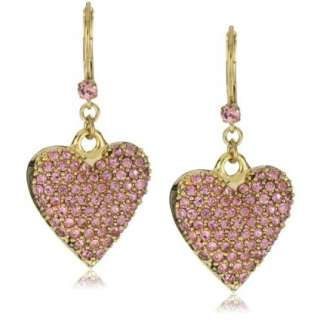 Betsey Johnson Gold Pink Crystal Heart Drop Earrings   designer shoes