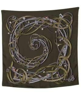 Gucci loden multi belt swirl silk twill scarf