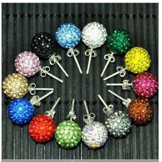 wholesale SOLID Silver 8mm Disco Ball Rhinestone Crystal Ball Earring