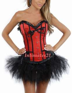 Sexy Red Moulin Rouge Costume Corset /w tutu skirt
