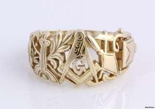 Masonic Master Mason Symbol Ring   14k Yellow Gold Art Carved   Opens