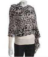 Amicale pale grey leopard print cashmere wool scarf style# 314078401