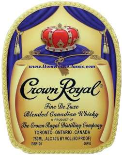 Crown Royal Whiskey Bottle Bag Label Wood Pub Bar Sign