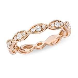 1/2 Carat Diamond 14K Pink Gold Ring Jewelry