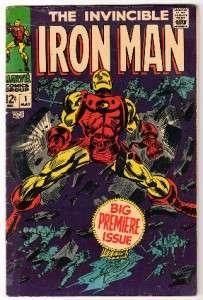Marvel Comics IRON MAN #1 AVENGERS thor hulk vol 1 VG+