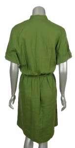 Sutton Studio Womens Linen Green Brown White Aqua Casual Beach Dress