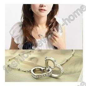 Fashion silver plated two heart crystal Choker necklace