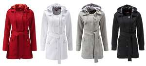 Womens Ladies Casual Hooded Tie Belt Jersey Coat in 4 Colours Plus