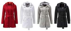 Womens Ladies Casual Hooded Tie Belt Jersey Coat in 4 Colours Plus