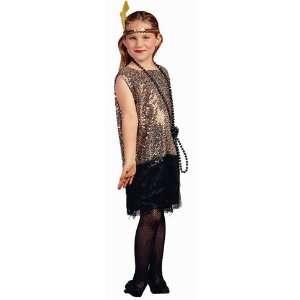 Kids Gold Flapper Dress Costume (SizeMd 8 10) Toys