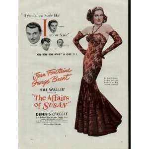 Movie Ad, THE AFFAIRS OF SUSAN, featuring Joan Fontaine and George