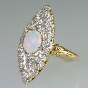 18ct gold Antique 1.80ct Old European Diamond Opal ring.Victorian ring