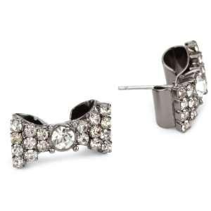 Betsey Johnson Iconic Crystal Bow Stud Earrings