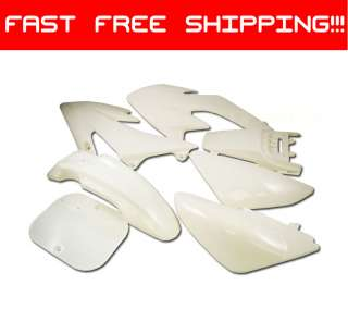 WHITE Plastic 7pc Kit PIT BIKE DIRT BIKES Honda XR50*