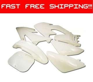 WHITE Plastic 7pc Kit PIT BIKE DIRT BIKES Honda XR50*