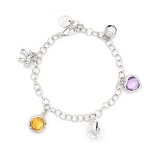 Plated Citrine And Amethyst Gem Stone Charm Bracelet (7.5) Jewelry