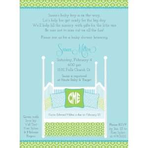 Four Post Crib Blue & Green Baby Shower Invitations