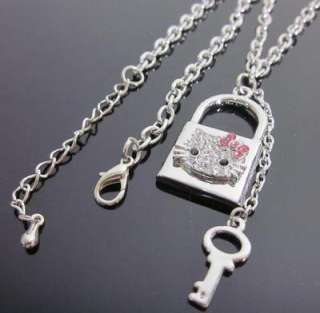Hello Kitty key love lock pink bow crystal necklace T17