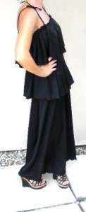VTG GLAM HIPPIE TIERED BLACK HOSTESS MAXI DRESS GOWN M L strappy long