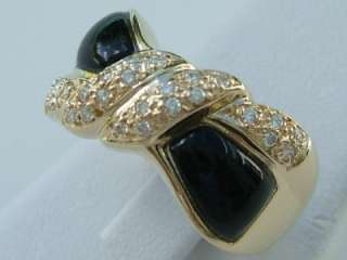 18k. Yellow Gold Onyx & Diamond Bow Tie Design Ring, New