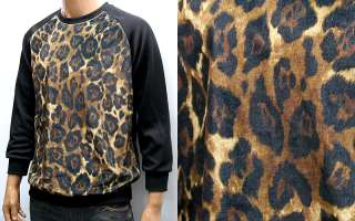 Leopard Print Long Sleeve T Shirts M / Animal Print Raglan Tee
