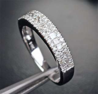 Round 1.11CT DIAMOND Solid 14K WHITE GOLD Engagement WEDDING BAND RING