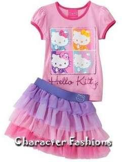 HELLO KITTY Outfit Top Tutu Skirt Set Size 4 5 6 6X Shirt Tee PINK