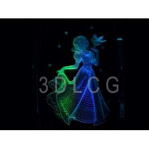 Disney Snow White Princess with Doves 3D Laser Etched