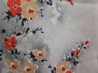 DESIGNER Black White Red Yellow Floral Print Silk Scarf