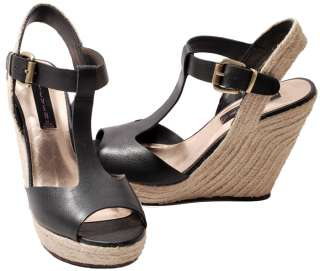 Steven by Steve Madden Black or Taupe Warren Wedge Heel Sandals NEW