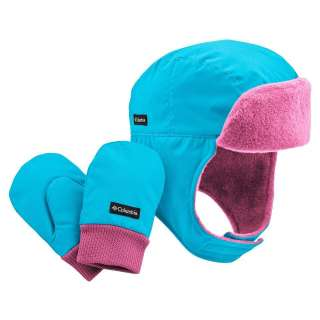 NEW Columbia Earflap Bomber Hat & Mittens Set Infant Toddler Girls