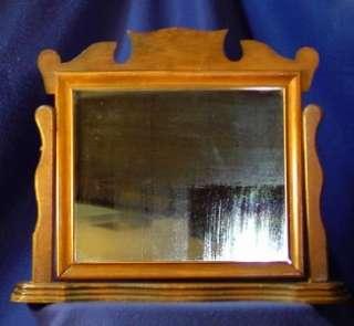 Antique Wood Mahogany Mans Shaving Mirror