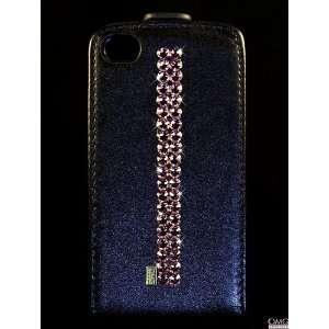 iPhone 4 4s Leather Flip Case, Swarovski Crystal Bling Diamante Case