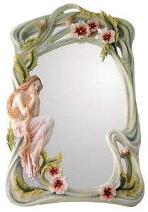 Art Nouveau Poppy Lady Standing Vanity Table Mirror
