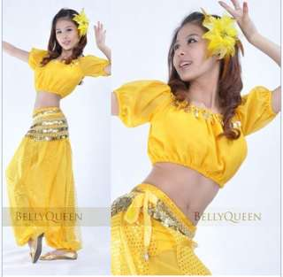 SEXY SEQUIN BELLY DANCE COSTUME TOP +SEQUIN BALLON PANTS BD 024