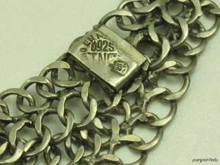 VINTAGE MEXICAN STERLING SILVER LONG DOUBLE LINK CHAIN NECKLACE 211