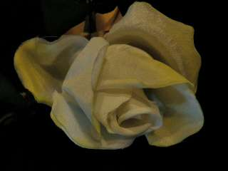 Vintage Millinery Flower Long Stem Rose Pale Lemon Z21