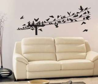Vinyl Wall Art Decal Sticker Birds Telephone Pole Wire